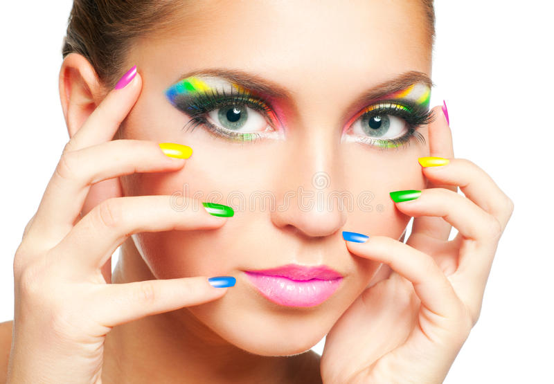 Rainbow makeup. Woman face with rainbow makeup royalty free stock image