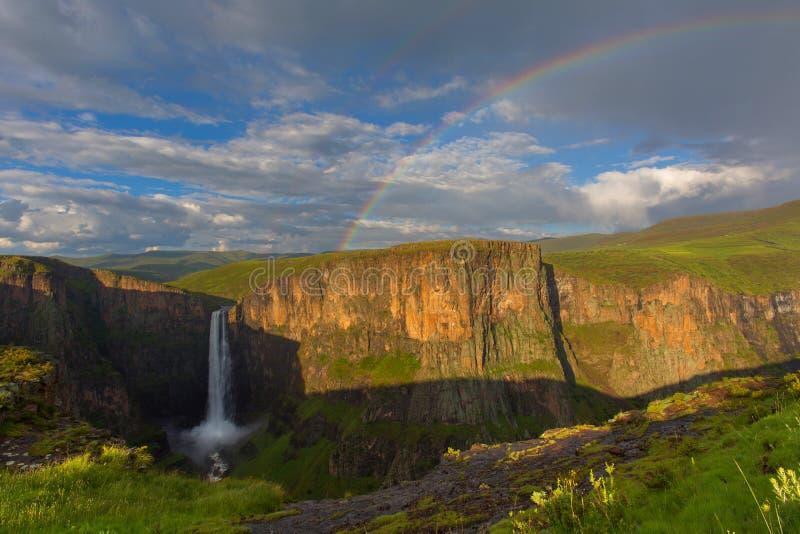 Rainbow at Maletsunyane Falls royalty free stock photos