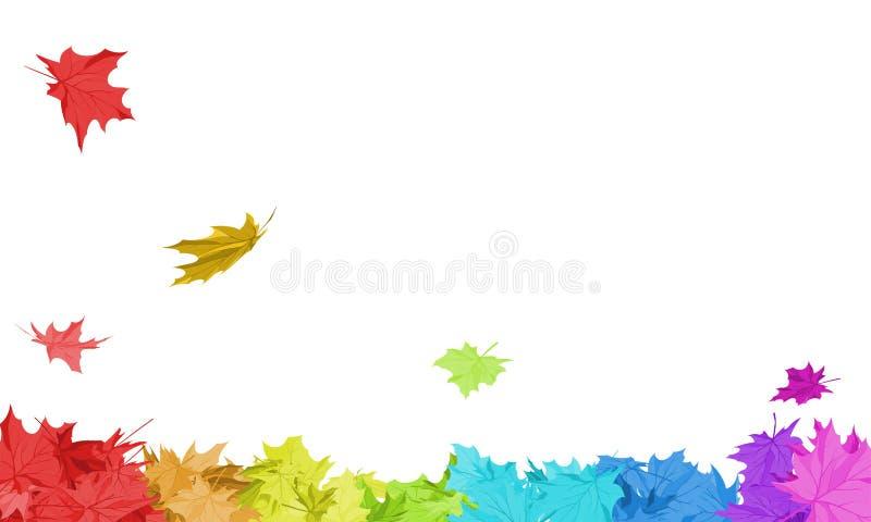 Rainbow Maple Leaves royalty free illustration