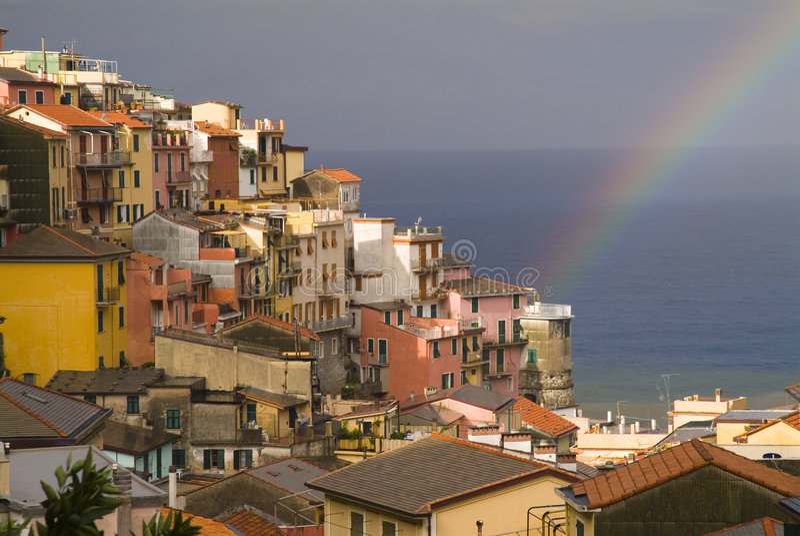 Rainbow on Mediterranean royalty free stock photos