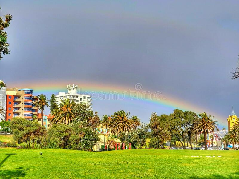 Rainbow Melbourne Australia nice view stock photo