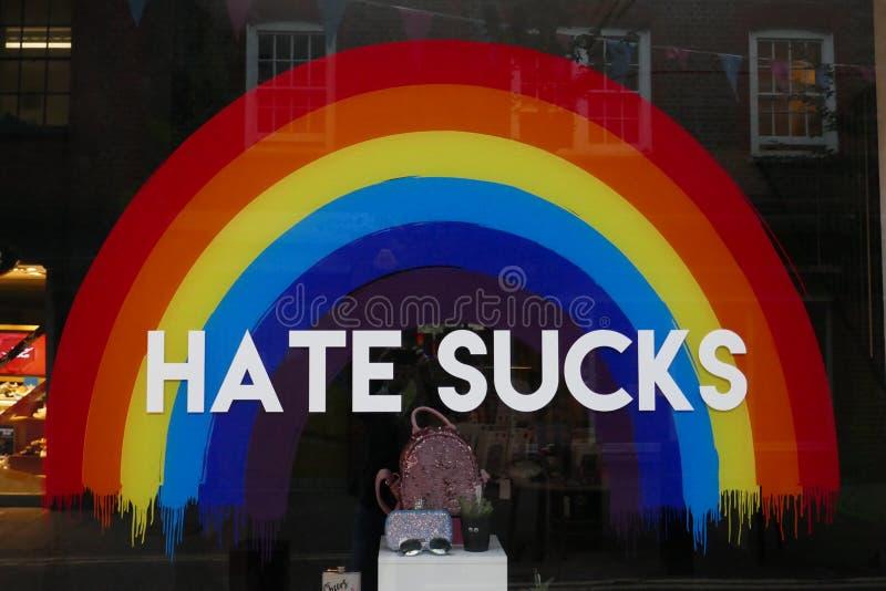 Rainbow message. Hate sucks diversity royalty free stock photo