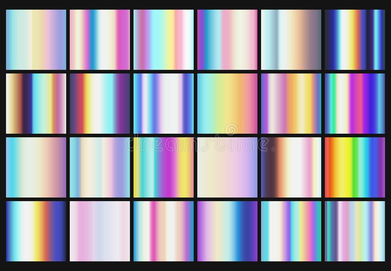 Rainbow metallic gradients with holographic colors vector templates. Rainbow hologram, holographic gradient collection illustration stock illustration