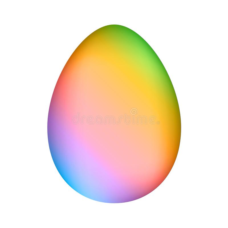 Rainbow minimalistic easter egg over white mesh vector. Pastel rainbow vector easter egg shape over white meshaes and geadient stock illustration