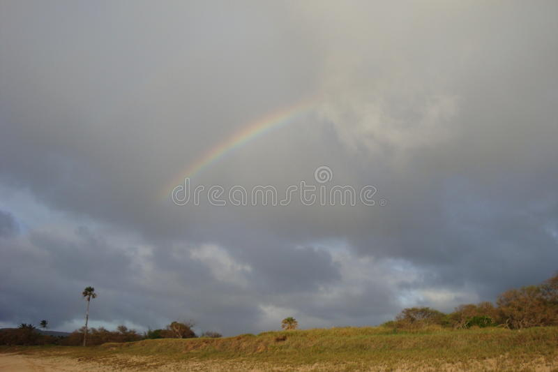 Rainbow - Molokai beach. So blessed to see rainbows in the beaches of molokai, Hawaii royalty free stock photo