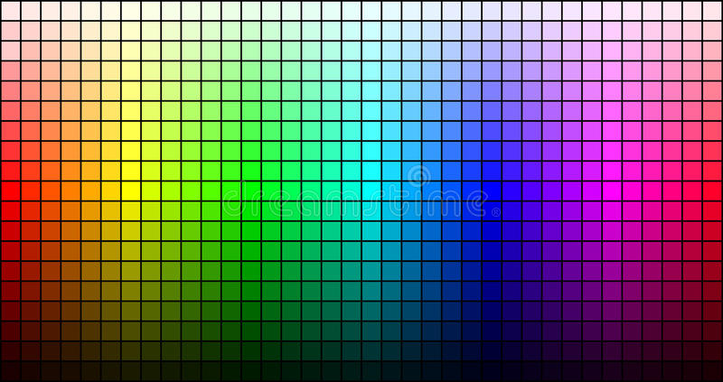 Rainbow mosaic, hue and brightness, on black background. Vector. Illustration stock illustration