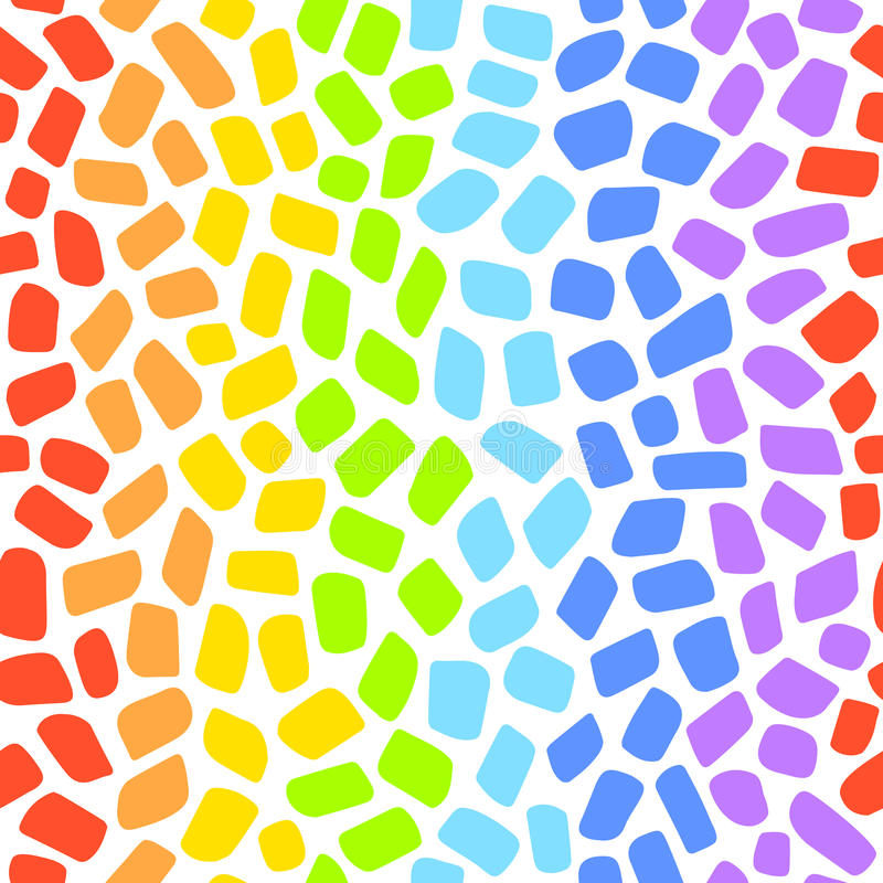 Rainbow mosaic seamless vector pattern stock illustration