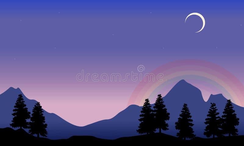 Rainbow on mountain scenery silhouettes stock illustration