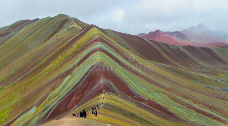 Rainbow mountain Siete Colores near Cuzco stock images