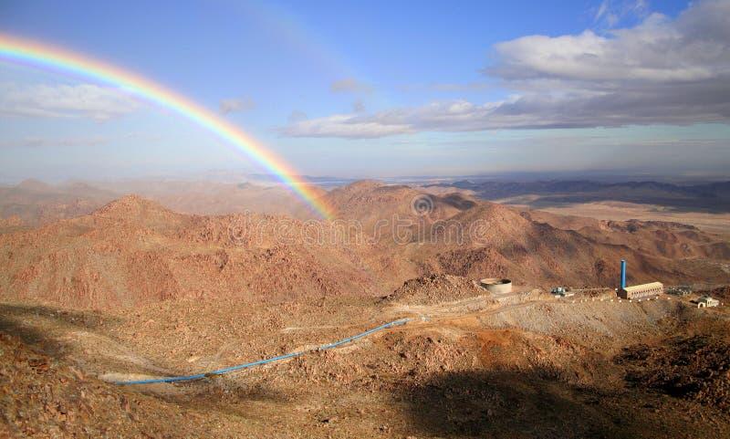 Rainbow and mountains. Rainbow over the rumorosa mountains, baja california, mexico royalty free stock photography