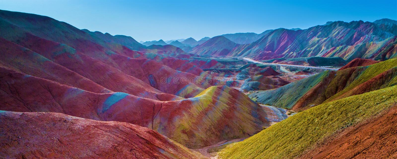 Rainbow mountains. Colorful pattern on Zhangye Rainbow mountains stock image