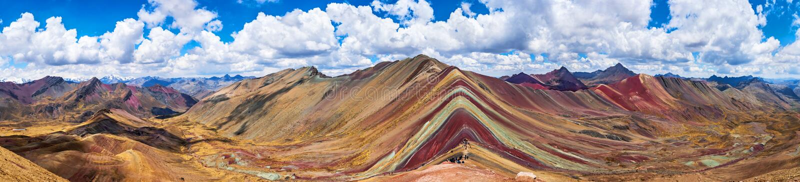 Rainbow Mountains, Cusco, Peru. Vinicunca, Peru - Rainbow Mountain 5200 m in Andes, Cordillera de los Andes, Cusco. Region in South America stock photography