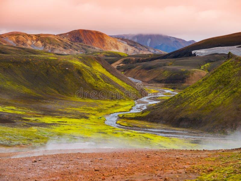 Rainbow mountains. Landmannalaugar rainbow mountains in Fjallabak Nature Reserve, Iceland stock images