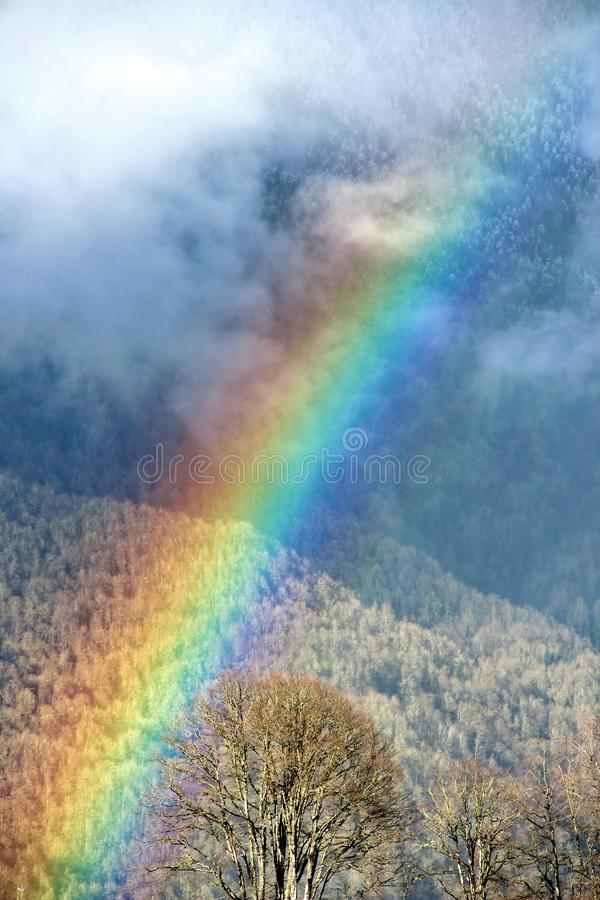 Rainbow in the mountains. Rainbow after rain in the mountains of the Caucasus. At an altitude of 1200 meters stock photos