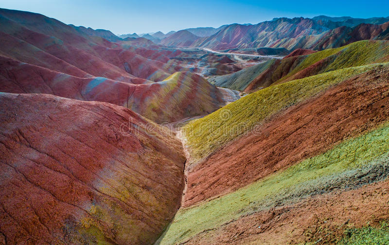 Rainbow mountains in Zhangye National Geopark. Aerial view on the colorful rainbow mountains of Zhangye danxia landform geological park in Gansu province, China stock photos