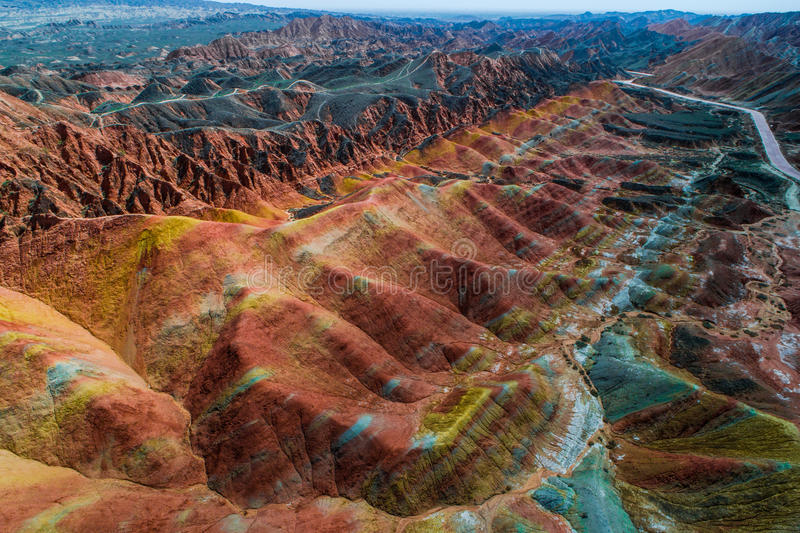Rainbow mountains in Zhangye National Geopark. Aerial view on the colorful rainbow mountains of Zhangye danxia landform geological park in Gansu province, China stock photo