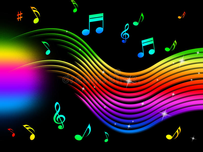 Rainbow Notes On Light Background Stock: Rainbow Music Background Means Colorful Lines And Melody