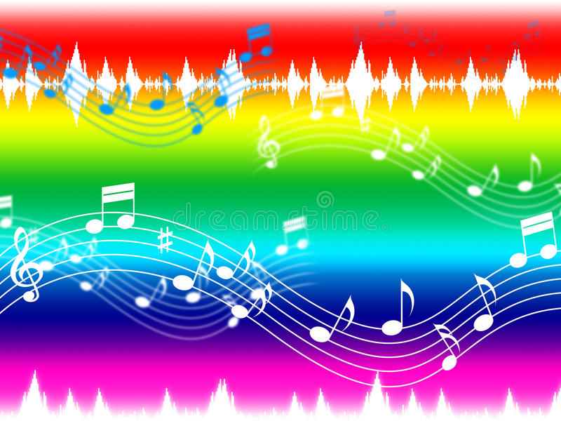 Rainbow Music Stock Images: Rainbow Music Background Shows Musical Piece And