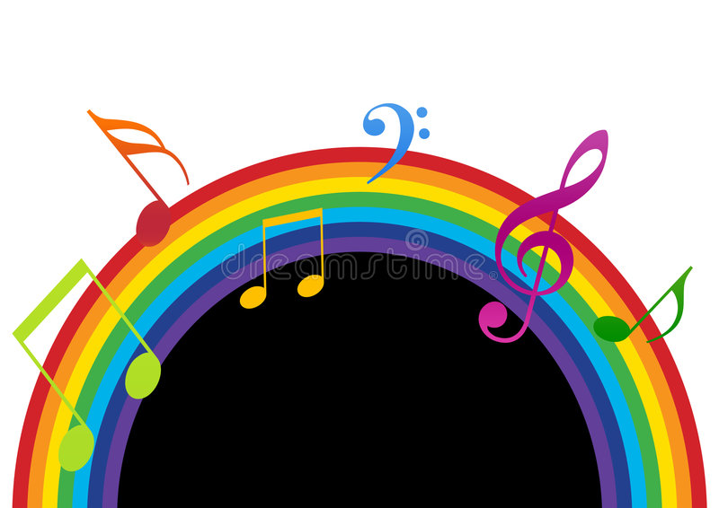 Rainbow Music Black And White Stock Illustration