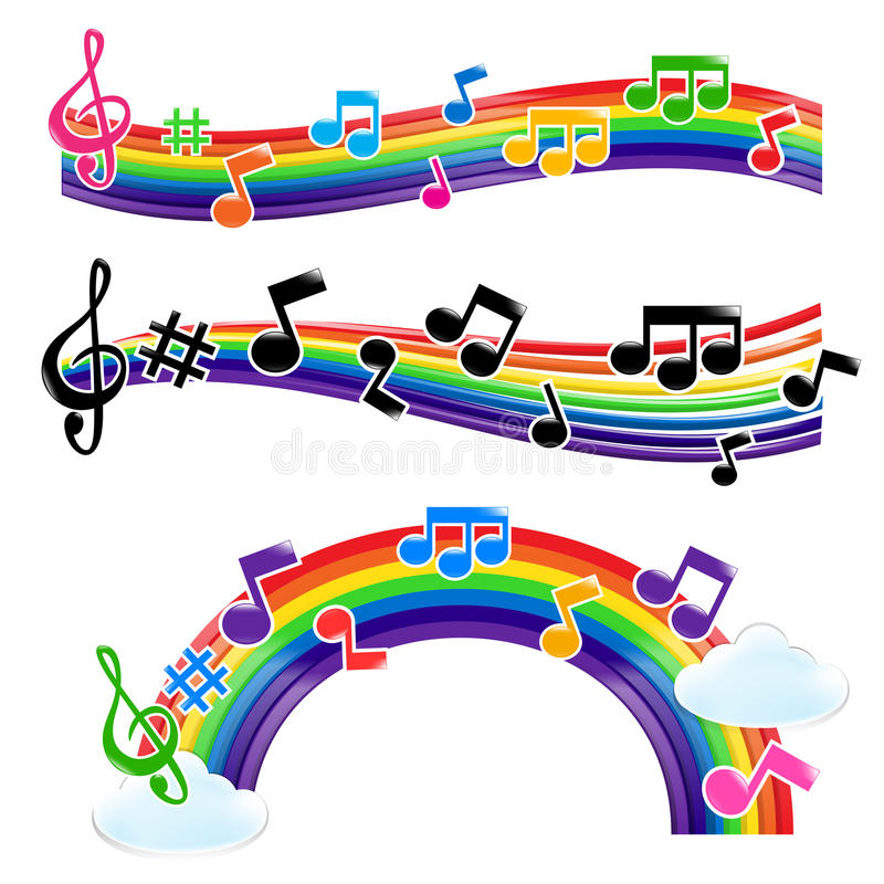 Rainbow Music vector illustration
