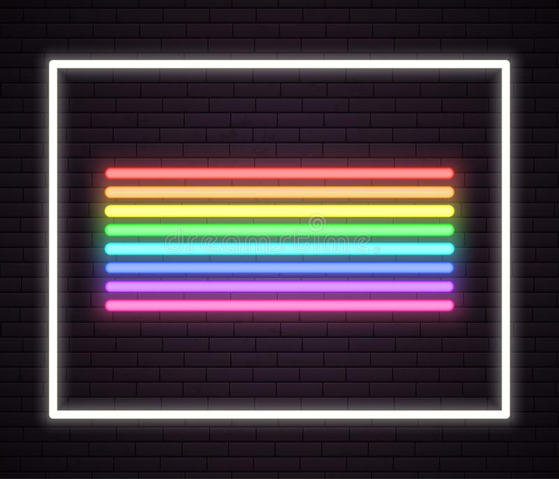 Rainbow neon tube lights. Signboard. Sign on wall of night club. vector illustration.  royalty free illustration