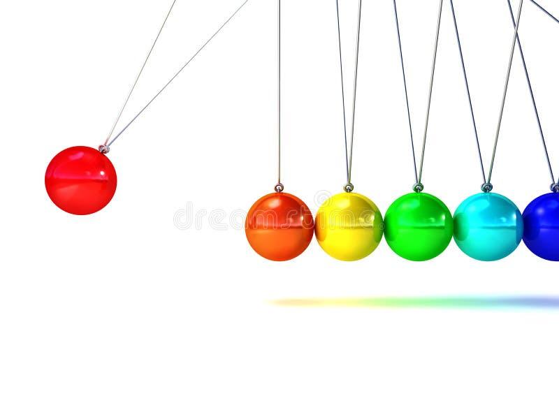 Download Rainbow newton cradle stock illustration. Image of ideas - 29504537