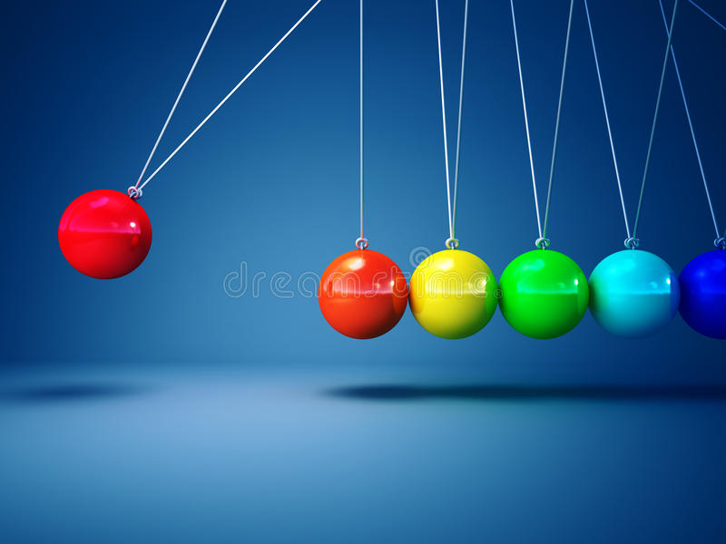 Rainbow Newton Cradle Royalty Free Stock Photo