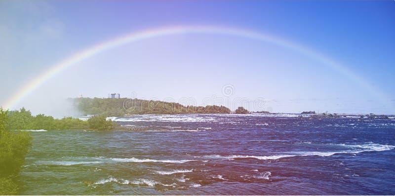 Rainbow at Niagara falls stock photos