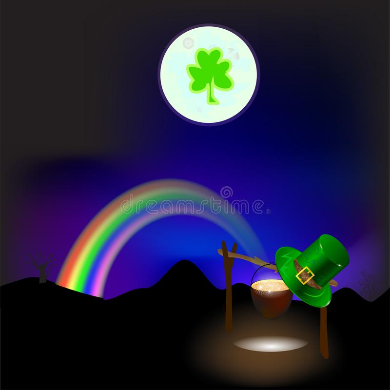 Rainbow at night. Patrick's day. GOLD . vector royalty free stock images