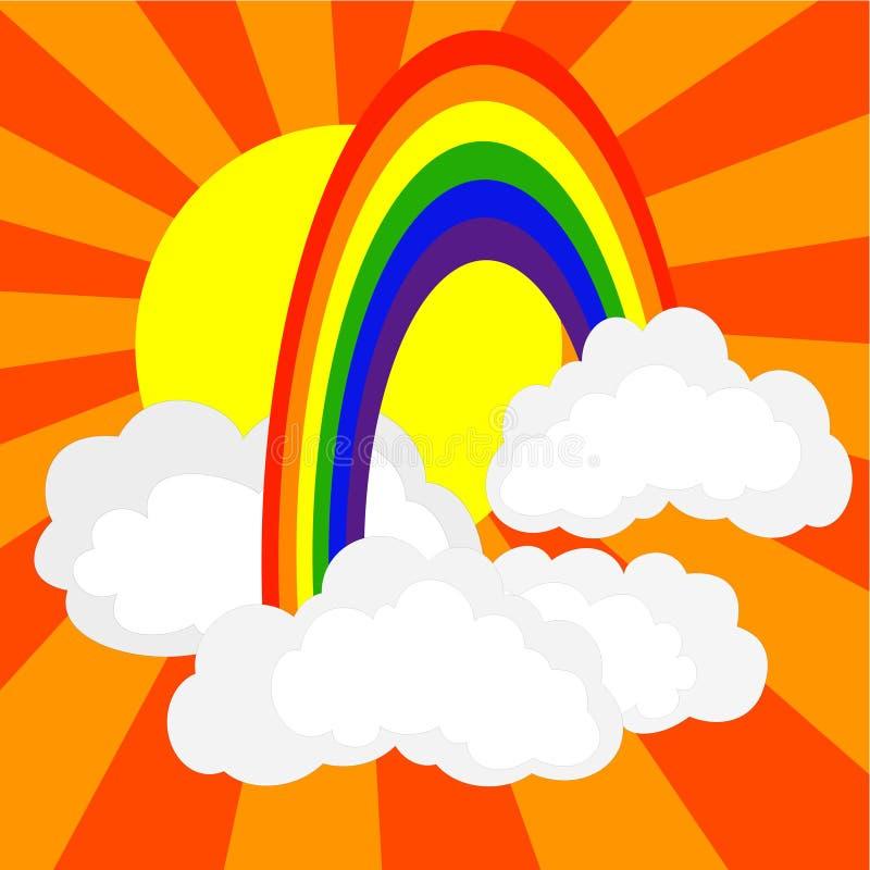 Rainbow in nubi illustrazione di stock