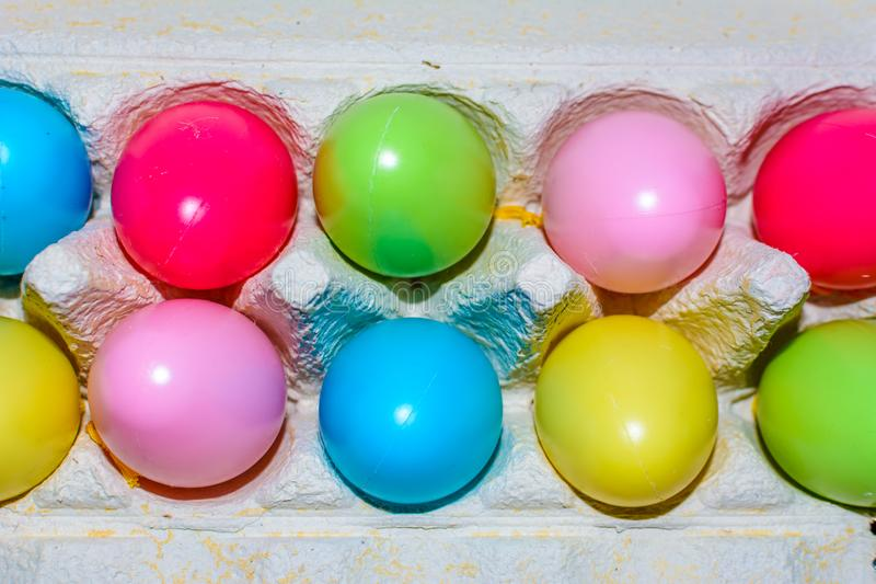 Rainbow order easter eggs in a ro2 royalty free stock photography