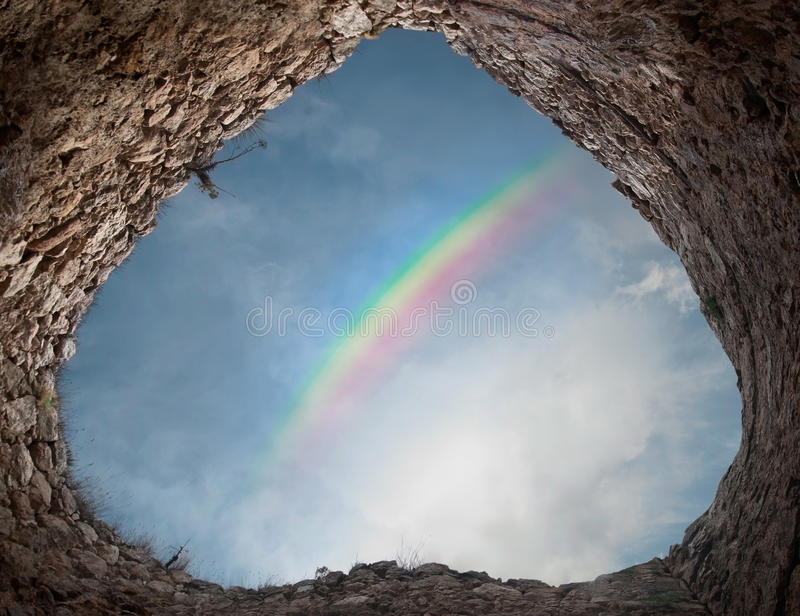 Rainbow Over The Ancient Tower Royalty Free Stock Photos