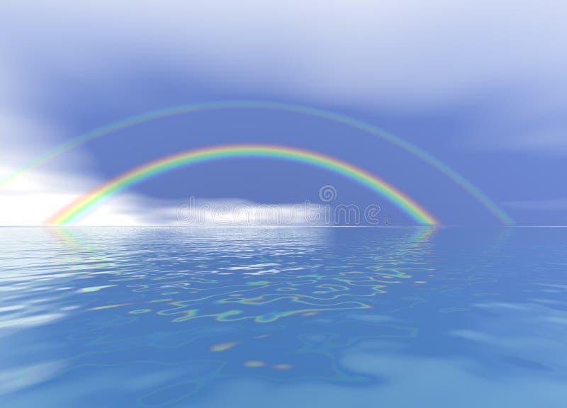 Rainbow over a Blue Ocean. 3d Rainbow over a Blue Ocean Landscape vector illustration