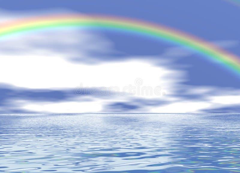 Rainbow over a Blue Ocean. 3d Rainbow over a Blue Ocean Landscape stock illustration