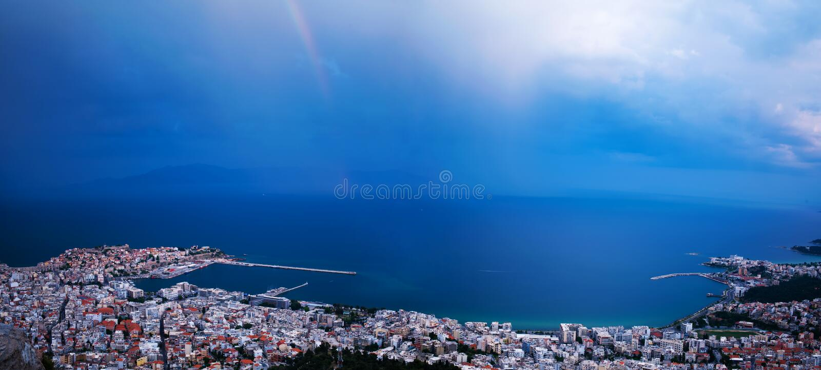 Download Rainbow over the city stock image. Image of city, electric - 27812487