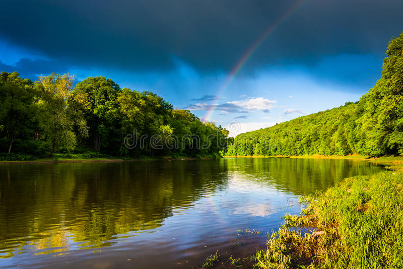 Rainbow over the Delaware River, at Delaware Water Gap National. Recreational Area, New Jersey stock photos