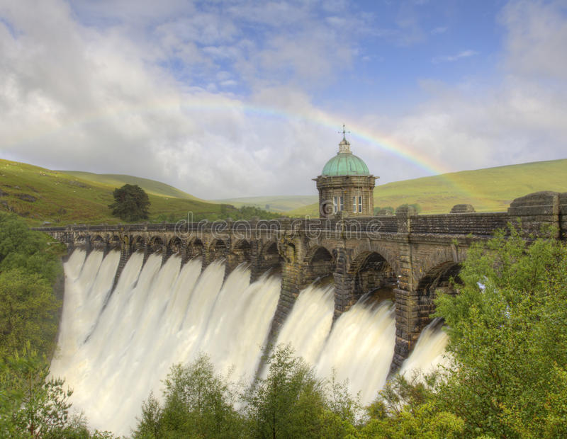 Download Rainbow Over The Elan Valley Dam Stock Image - Image: 25380995