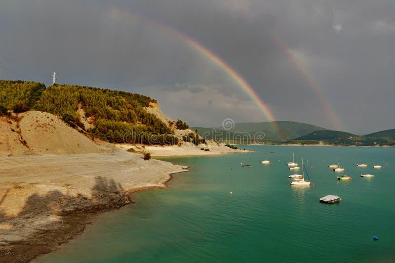 Rainbow over Embalse de Yesa royalty free stock photos