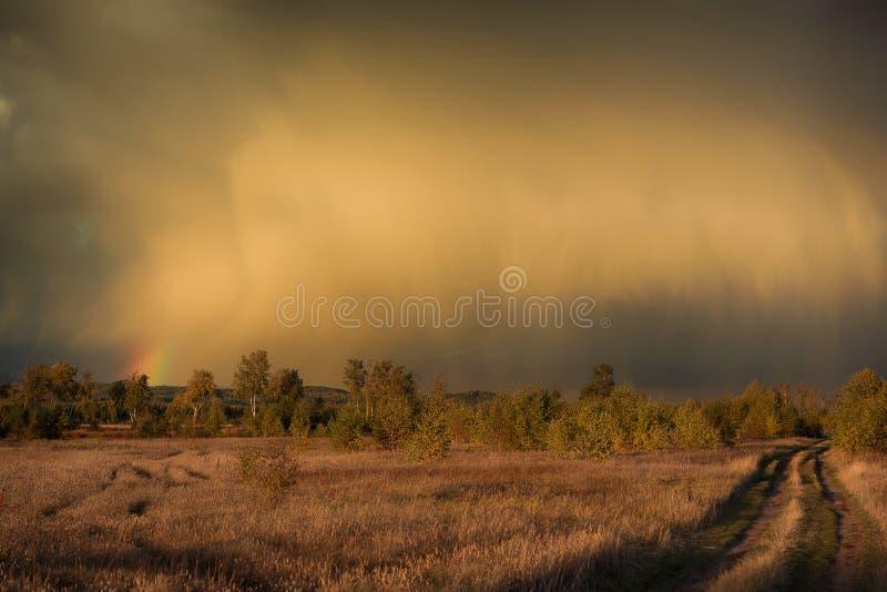 Rainbow over the field royalty free stock photo