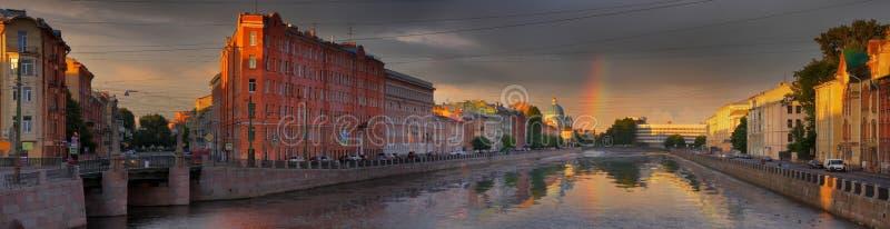 Rainbow over the Fontanka river embankment in St. Petersburg stock images