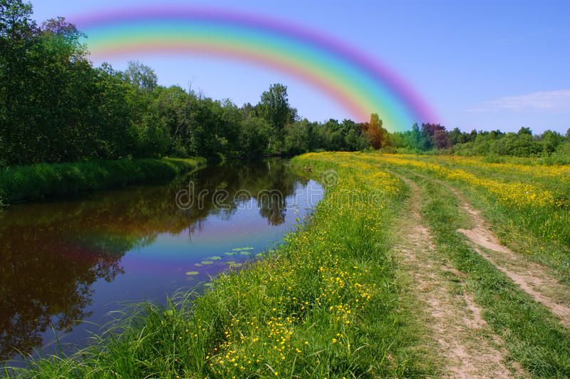 Rainbow over the forest, Valday, Russia royalty free stock photos