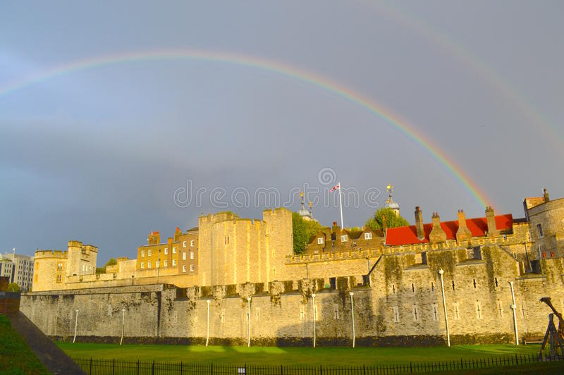 Rainbow over Fortress in England. Double Rainbow over Fortress in England royalty free stock photography