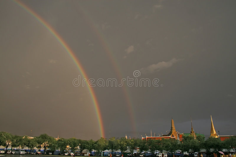 Rainbow over Grand Palace royalty free stock photo