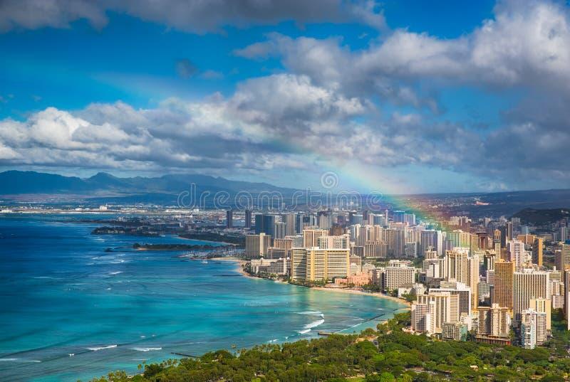 Rainbow over Hawaii skyline royalty free stock photo