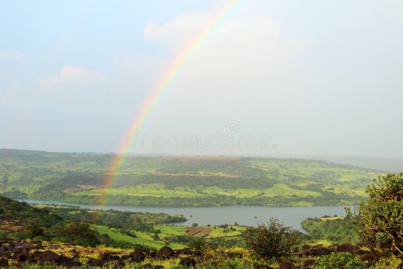 Rainbow over the Kaas Plateau, Satara, Maharashtra royalty free stock image