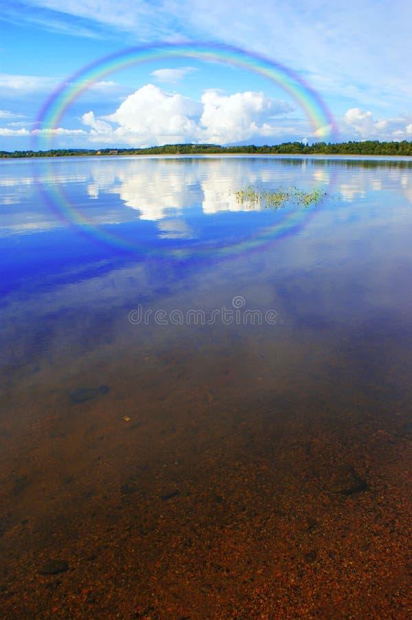 Rainbow over the lake, Karelia stock images