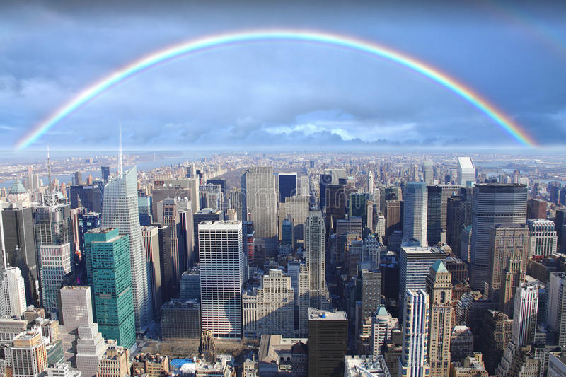Rainbow over Manhattan New York royalty free stock photography