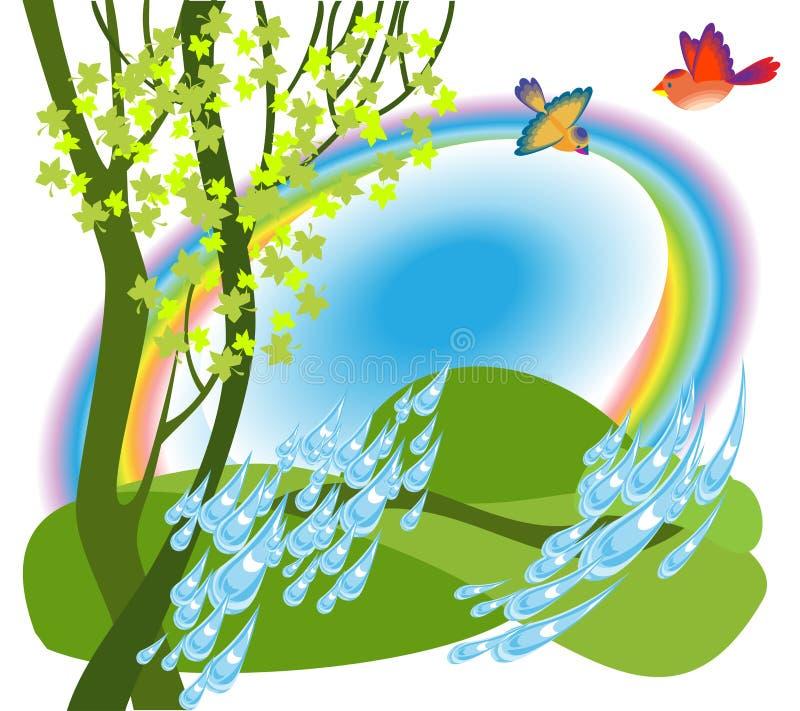 Rainbow over the meadow stock illustration