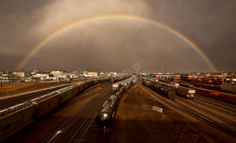 Rainbow over Moose Jaw royalty free stock photo