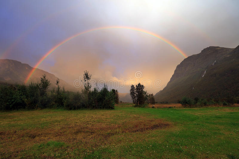 Rainbow over mountain royalty free stock images